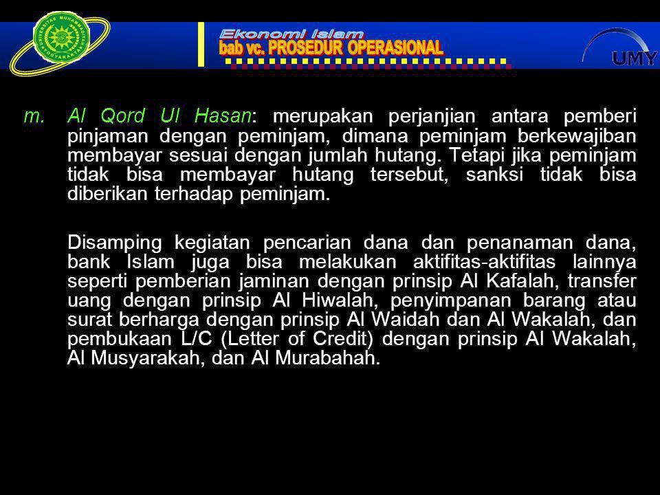 Al Qord Ul Hasan: merupakan perjanjian antara pemberi pinjaman dengan peminjam, dimana peminjam berkewajiban membayar sesuai dengan jumlah hutang. Tetapi jika peminjam tidak bisa membayar hutang tersebut, sanksi tidak bisa diberikan terhadap peminjam.