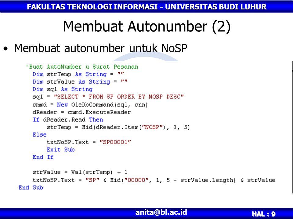 Membuat Autonumber (2) Membuat autonumber untuk NoSP