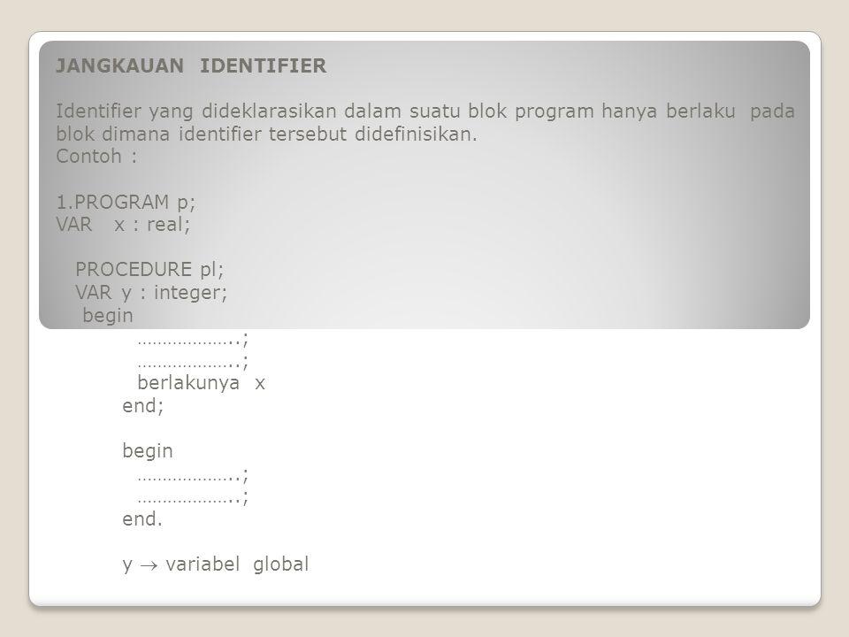 JANGKAUAN IDENTIFIER Identifier yang dideklarasikan dalam suatu blok program hanya berlaku pada blok dimana identifier tersebut didefinisikan.