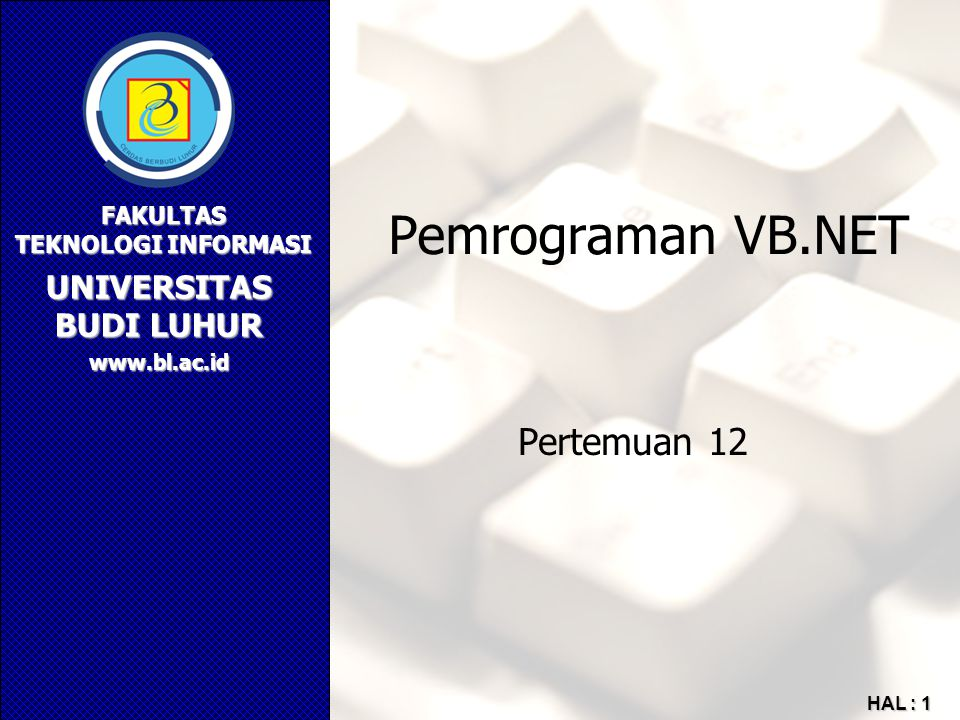 Pemrograman VB.NET Pertemuan 12
