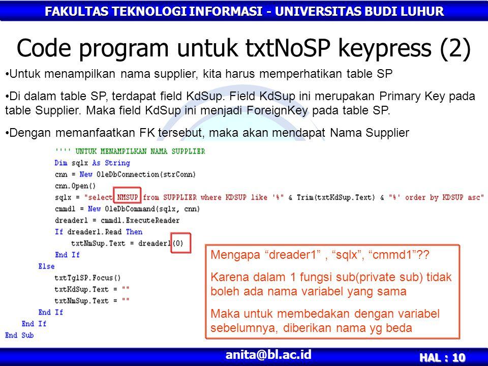 Code program untuk txtNoSP keypress (2)