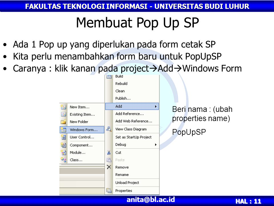 Membuat Pop Up SP Ada 1 Pop up yang diperlukan pada form cetak SP