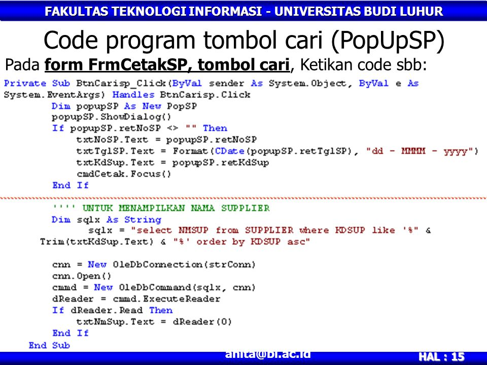 Code program tombol cari (PopUpSP)