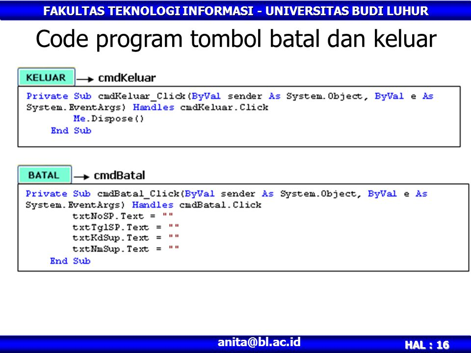Code program tombol batal dan keluar