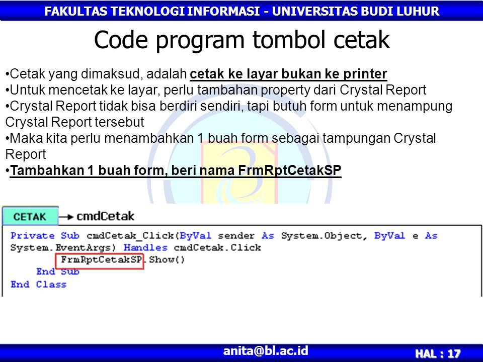 Code program tombol cetak