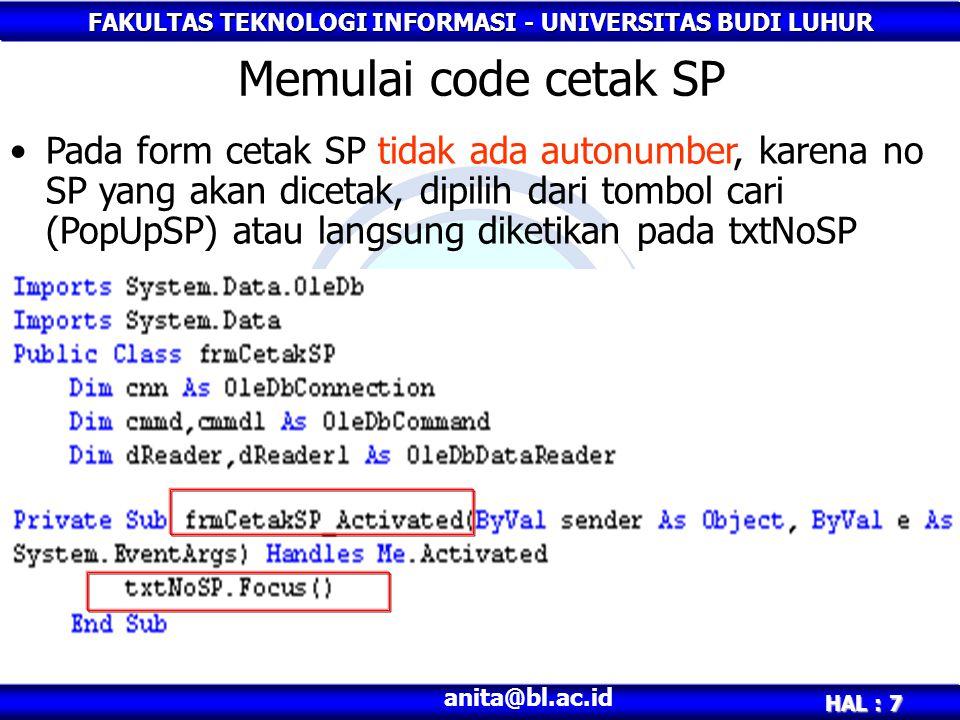 Memulai code cetak SP