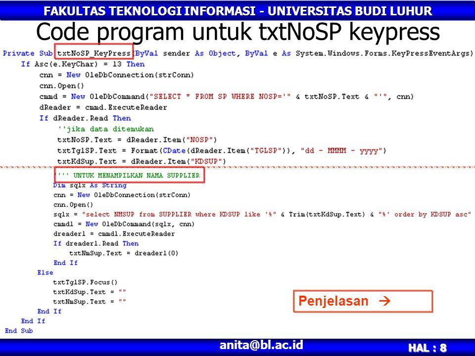 Code program untuk txtNoSP keypress