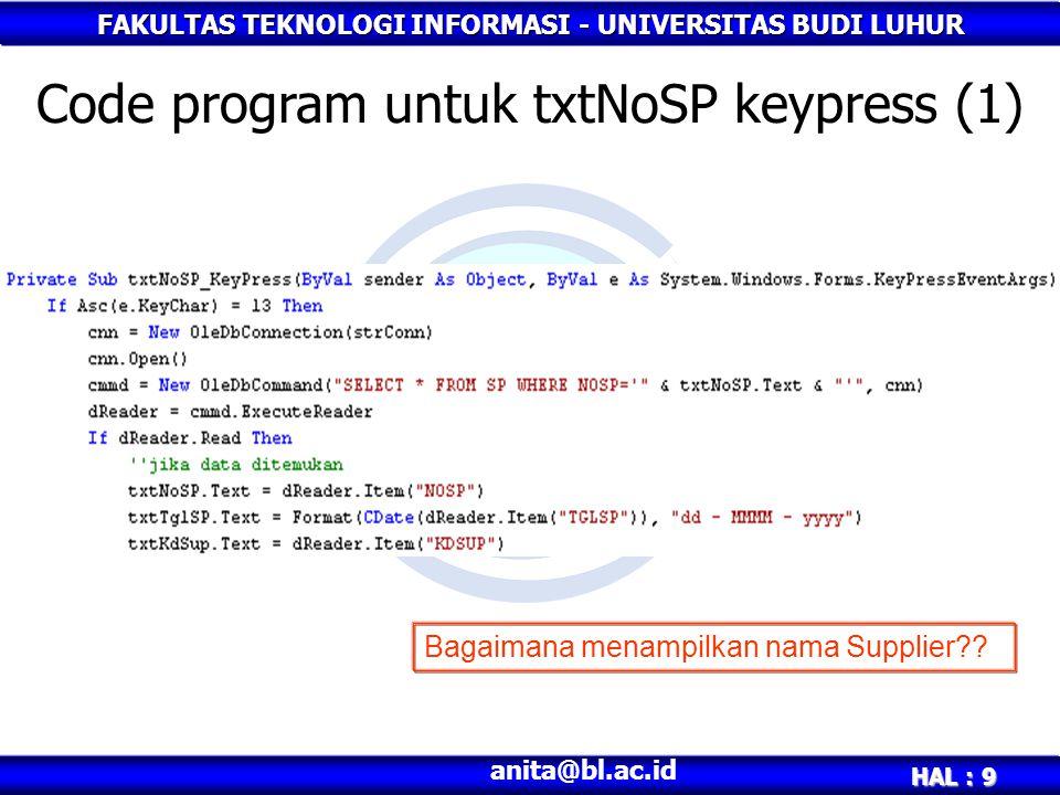 Code program untuk txtNoSP keypress (1)