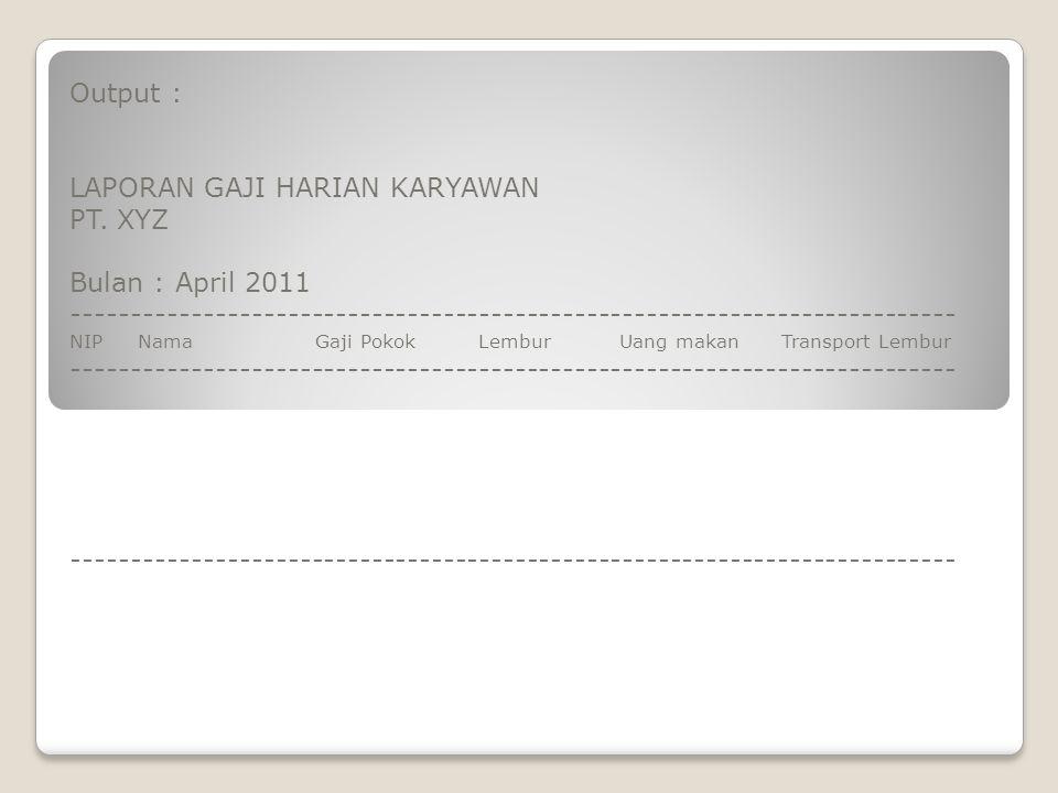 LAPORAN GAJI HARIAN KARYAWAN PT. XYZ Bulan : April 2011