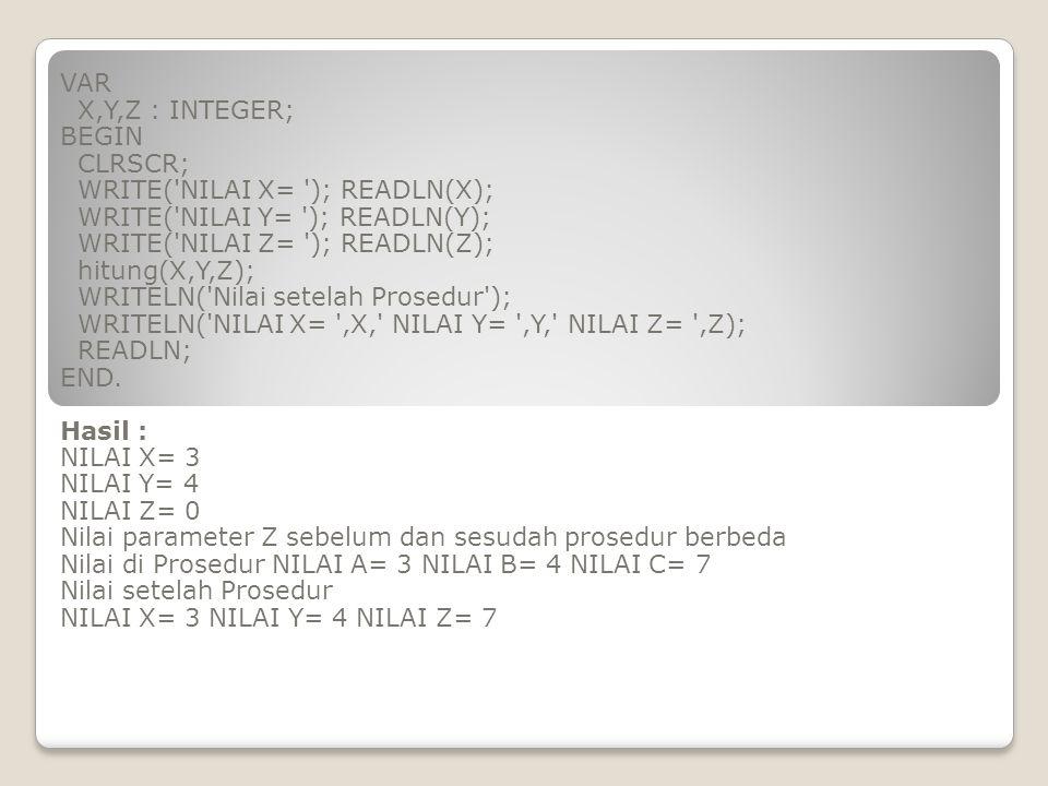 VAR X,Y,Z : INTEGER; BEGIN. CLRSCR; WRITE( NILAI X= ); READLN(X); WRITE( NILAI Y= ); READLN(Y);