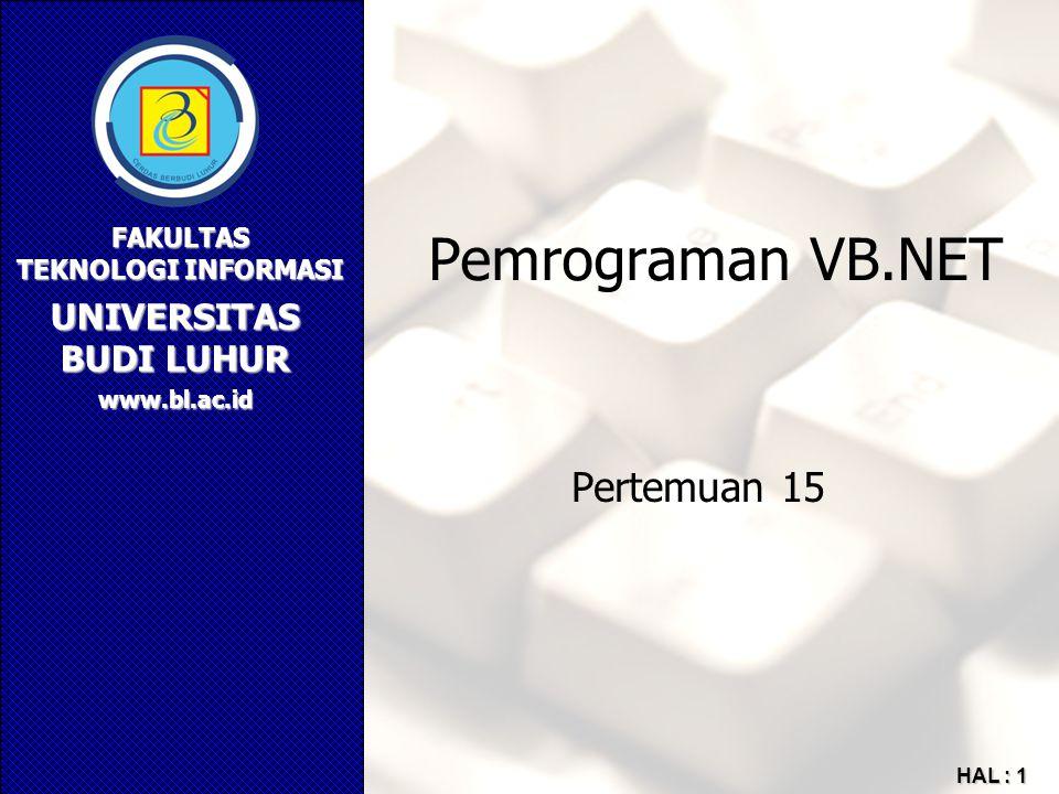 Pemrograman VB.NET Pertemuan 15