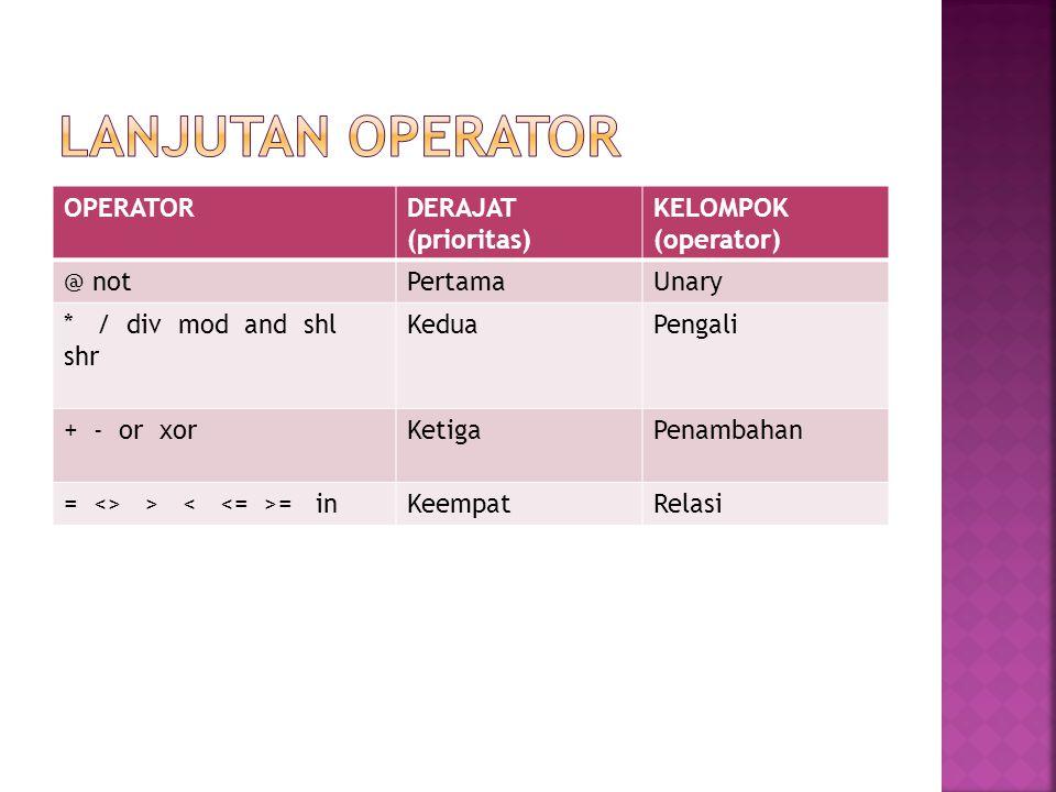 Lanjutan operator OPERATOR DERAJAT (prioritas) KELOMPOK (operator)