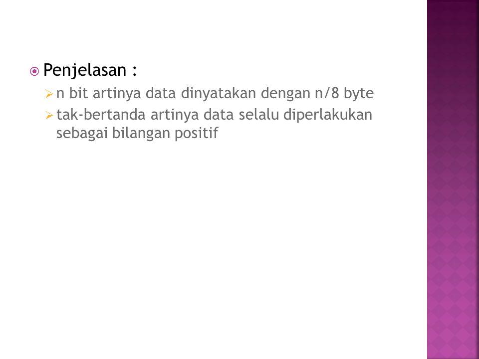 Penjelasan : n bit artinya data dinyatakan dengan n/8 byte