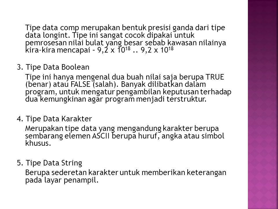 Tipe data comp merupakan bentuk presisi ganda dari tipe data longint