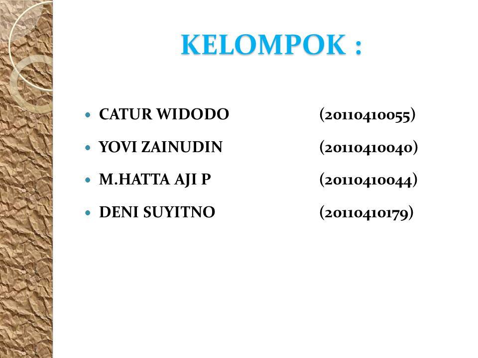 KELOMPOK : CATUR WIDODO (20110410055) YOVI ZAINUDIN (20110410040)