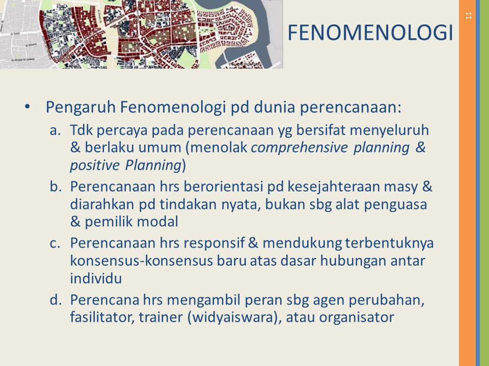 FENOMENOLOGI Pengaruh Fenomenologi pd dunia perencanaan: