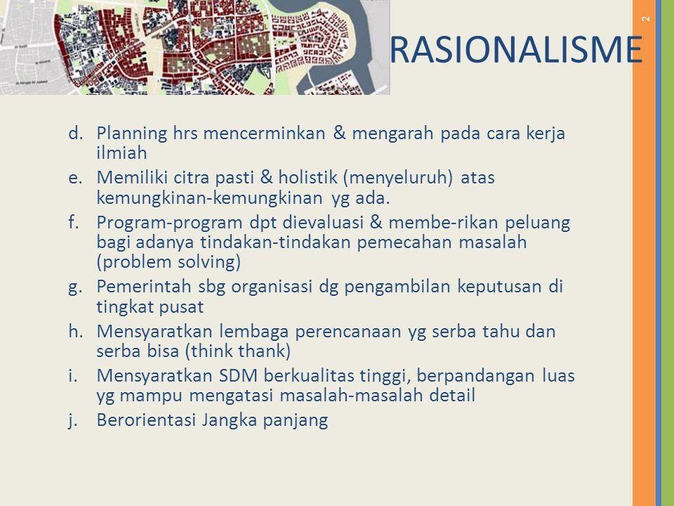 RASIONALISME Planning hrs mencerminkan & mengarah pada cara kerja ilmiah.
