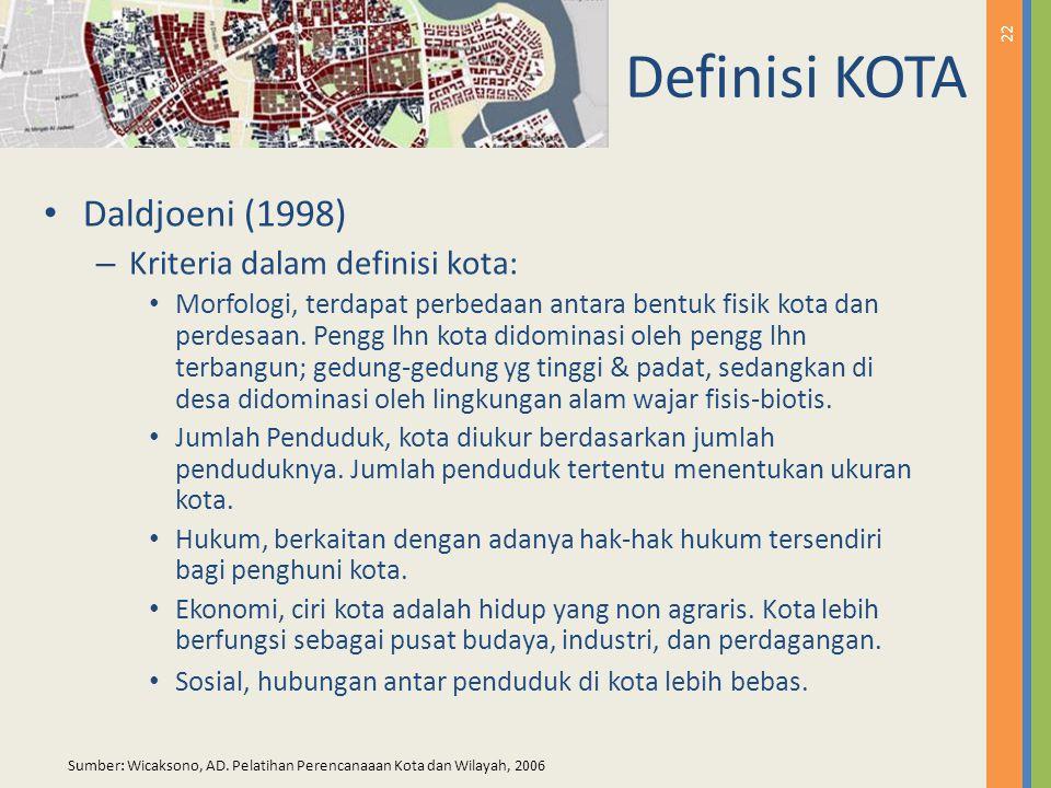 Definisi KOTA Daldjoeni (1998) Kriteria dalam definisi kota:
