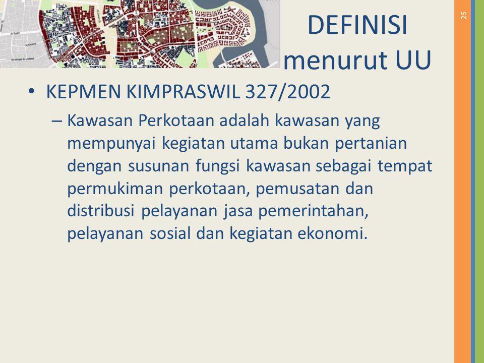 DEFINISI menurut UU KEPMEN KIMPRASWIL 327/2002