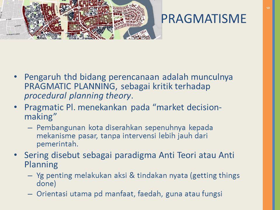 PRAGMATISME Pengaruh thd bidang perencanaan adalah munculnya PRAGMATIC PLANNING, sebagai kritik terhadap procedural planning theory.