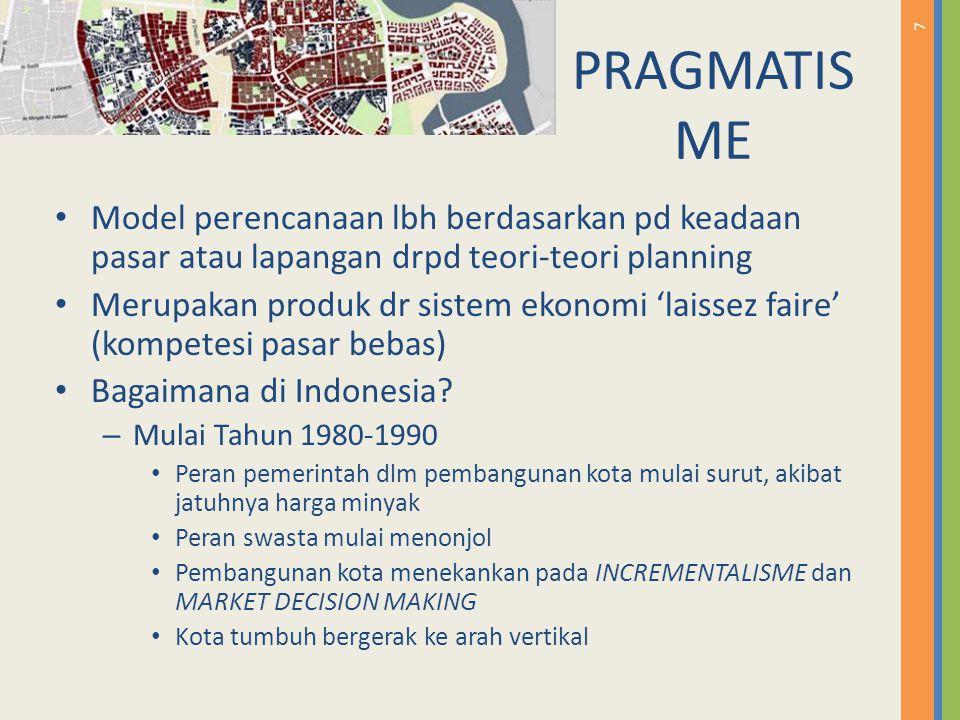 PRAGMATISME Model perencanaan lbh berdasarkan pd keadaan pasar atau lapangan drpd teori-teori planning.