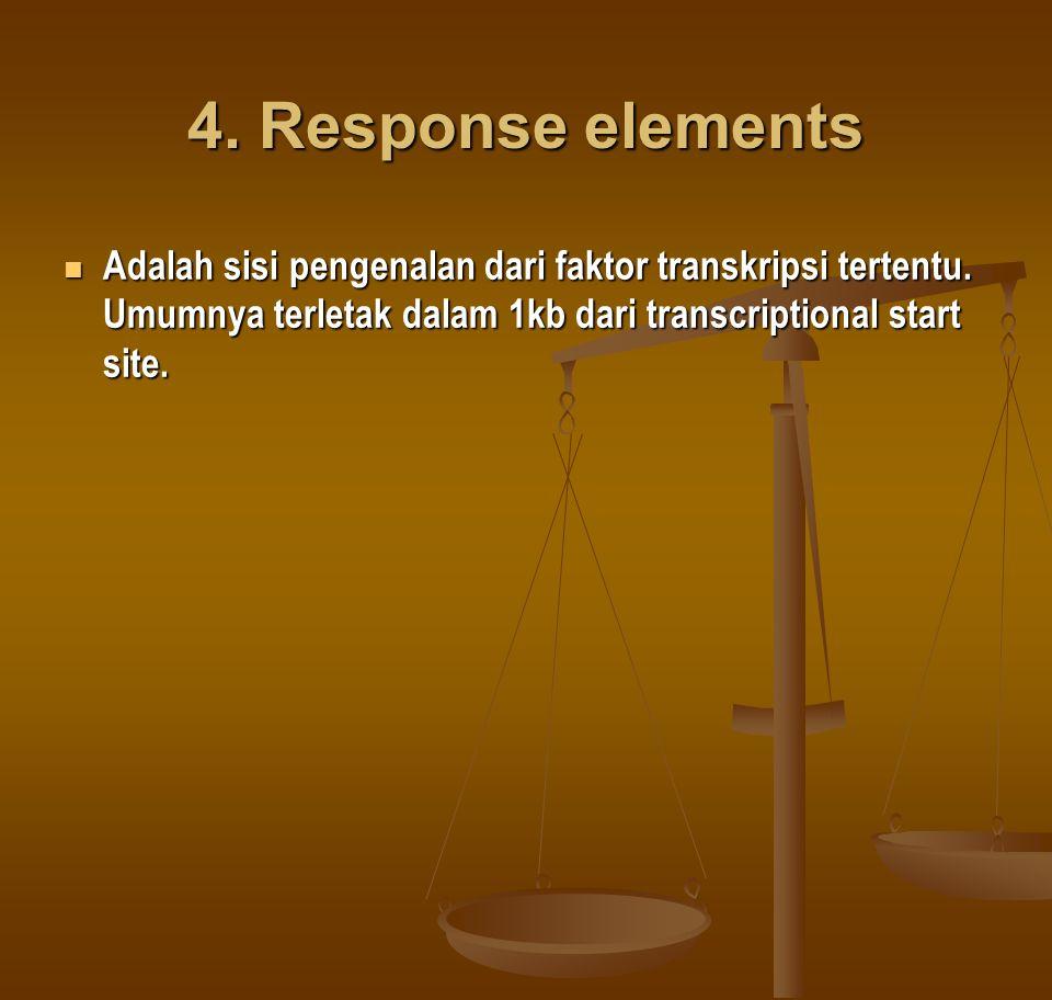 4. Response elements Adalah sisi pengenalan dari faktor transkripsi tertentu.