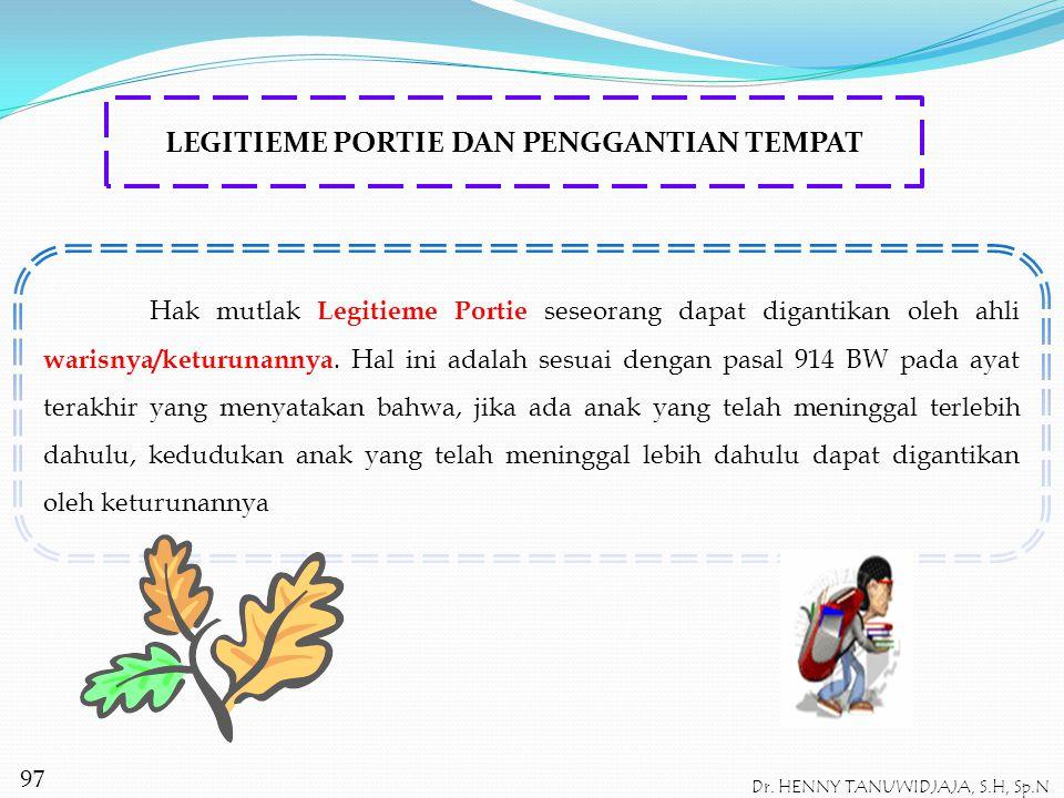 LEGITIEME PORTIE DAN PENGGANTIAN TEMPAT