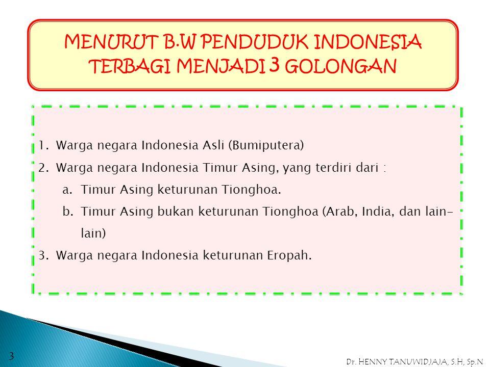 MENURUT B.W PENDUDUK INDONESIA TERBAGI MENJADI 3 GOLONGAN