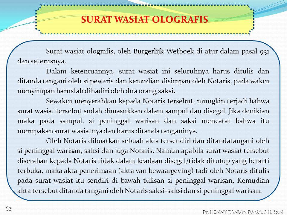 SURAT WASIAT OLOGRAFIS