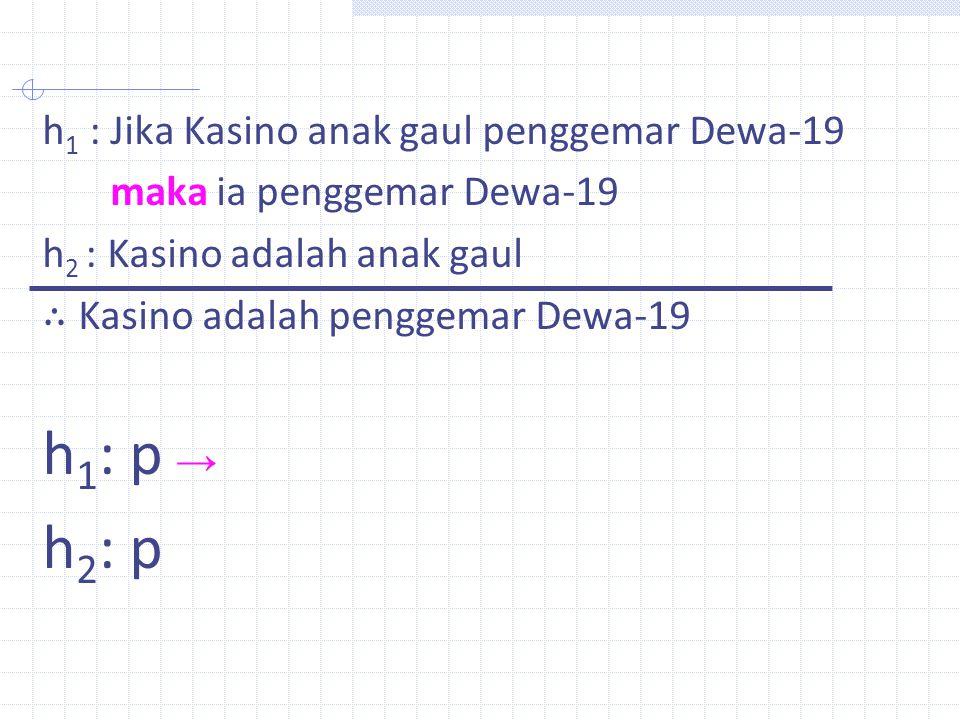 h1: p → h2: p h1 : Jika Kasino anak gaul penggemar Dewa-19