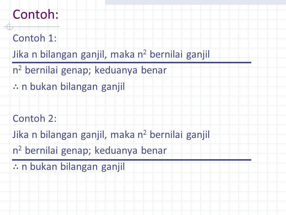 Contoh: Contoh 1: Jika n bilangan ganjil, maka n2 bernilai ganjil n2 bernilai genap; keduanya benar ∴ n bukan bilangan ganjil Contoh 2: