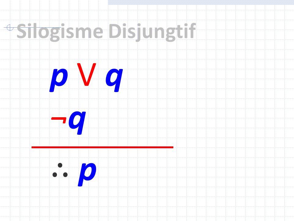 Silogisme Disjungtif p V q ¬q ∴ p