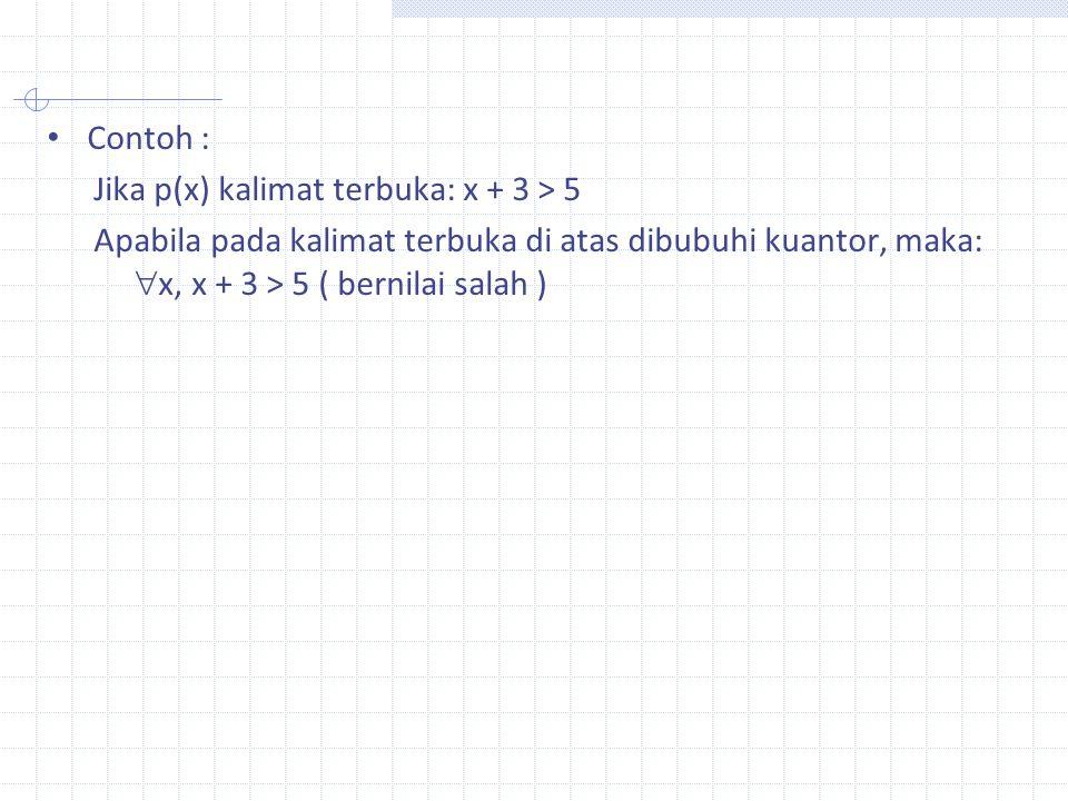 Contoh : Jika p(x) kalimat terbuka: x + 3 > 5.