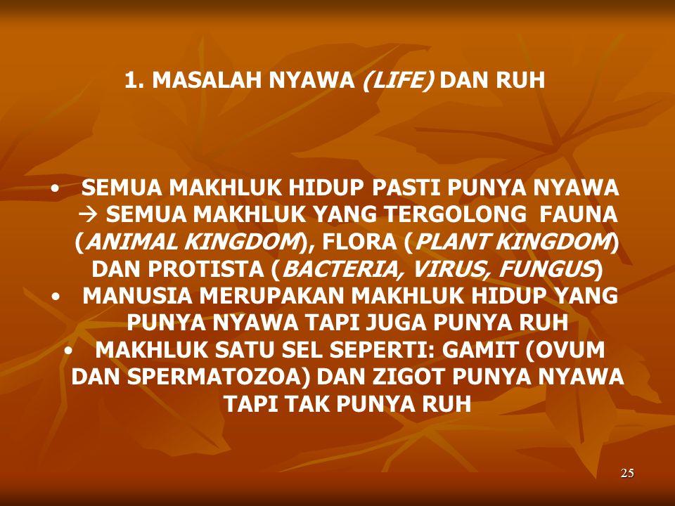 1. MASALAH NYAWA (LIFE) DAN RUH