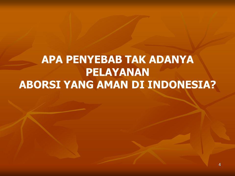 APA PENYEBAB TAK ADANYA PELAYANAN ABORSI YANG AMAN DI INDONESIA