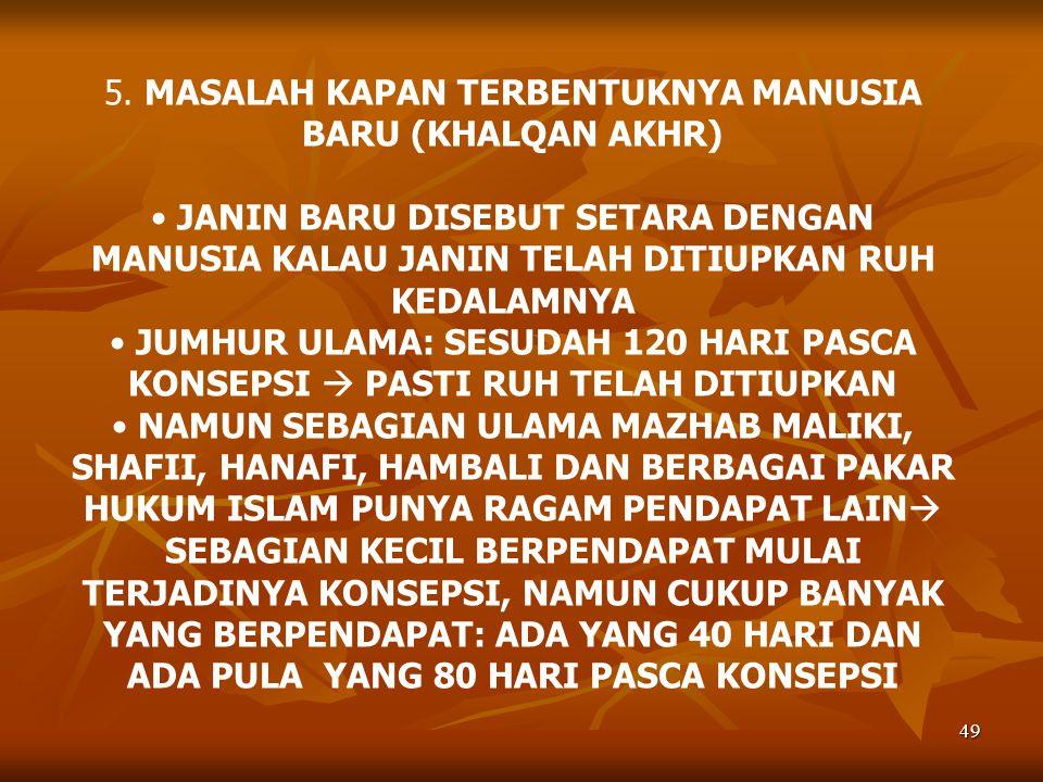 5. MASALAH KAPAN TERBENTUKNYA MANUSIA BARU (KHALQAN AKHR)