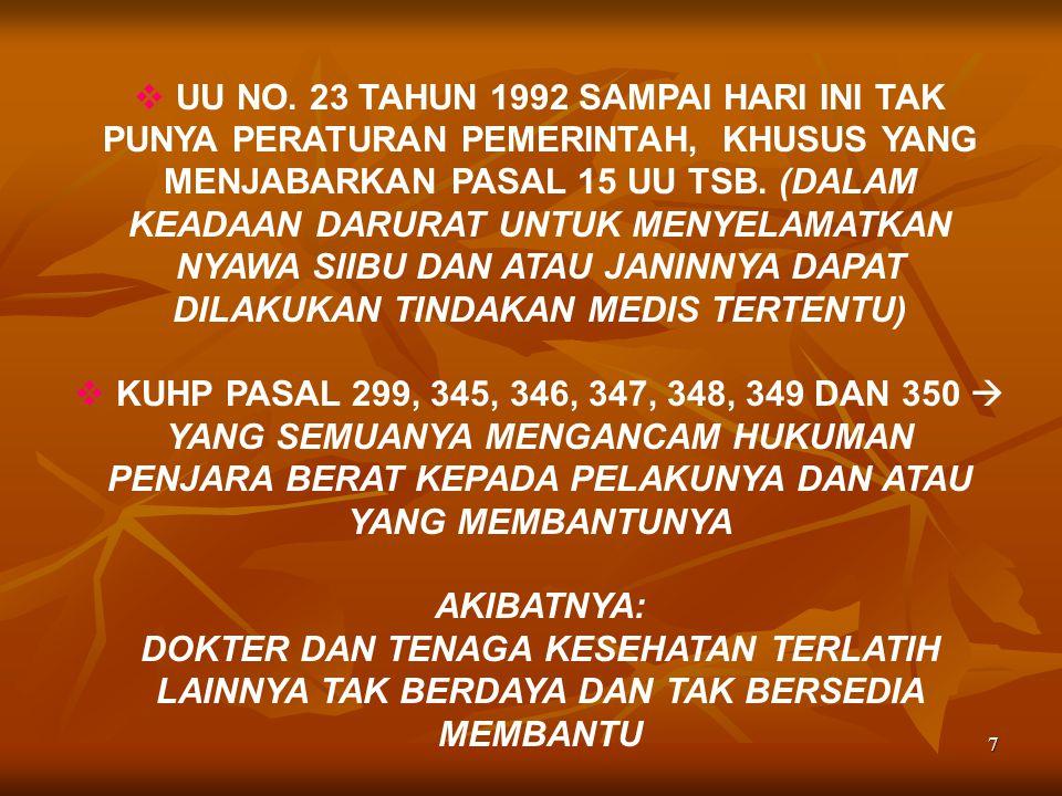 UU NO. 23 TAHUN 1992 SAMPAI HARI INI TAK PUNYA PERATURAN PEMERINTAH, KHUSUS YANG MENJABARKAN PASAL 15 UU TSB. (DALAM KEADAAN DARURAT UNTUK MENYELAMATKAN NYAWA SIIBU DAN ATAU JANINNYA DAPAT DILAKUKAN TINDAKAN MEDIS TERTENTU)