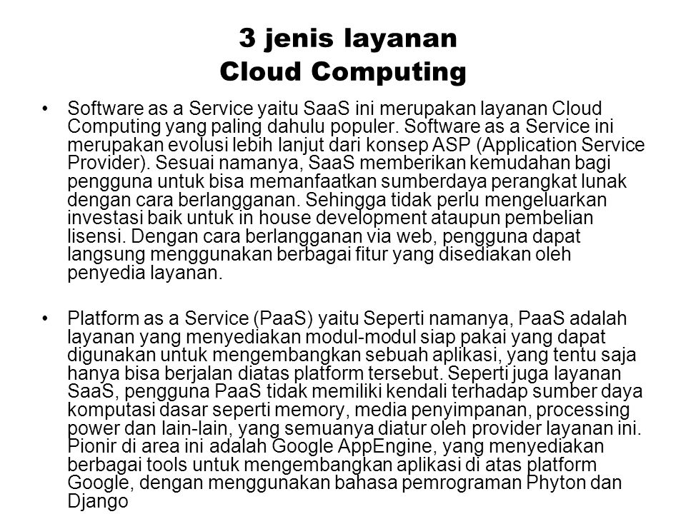 3 jenis layanan Cloud Computing