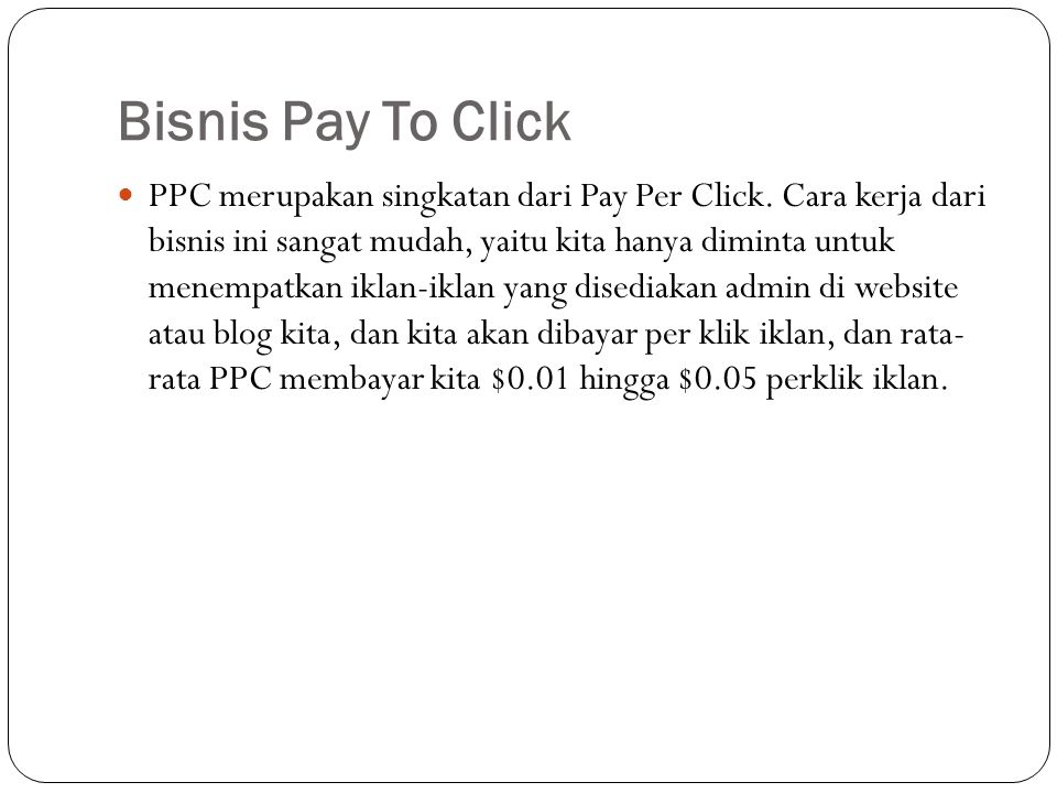 Bisnis Pay To Click