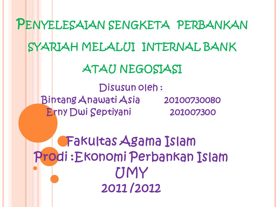 Prodi :Ekonomi Perbankan Islam