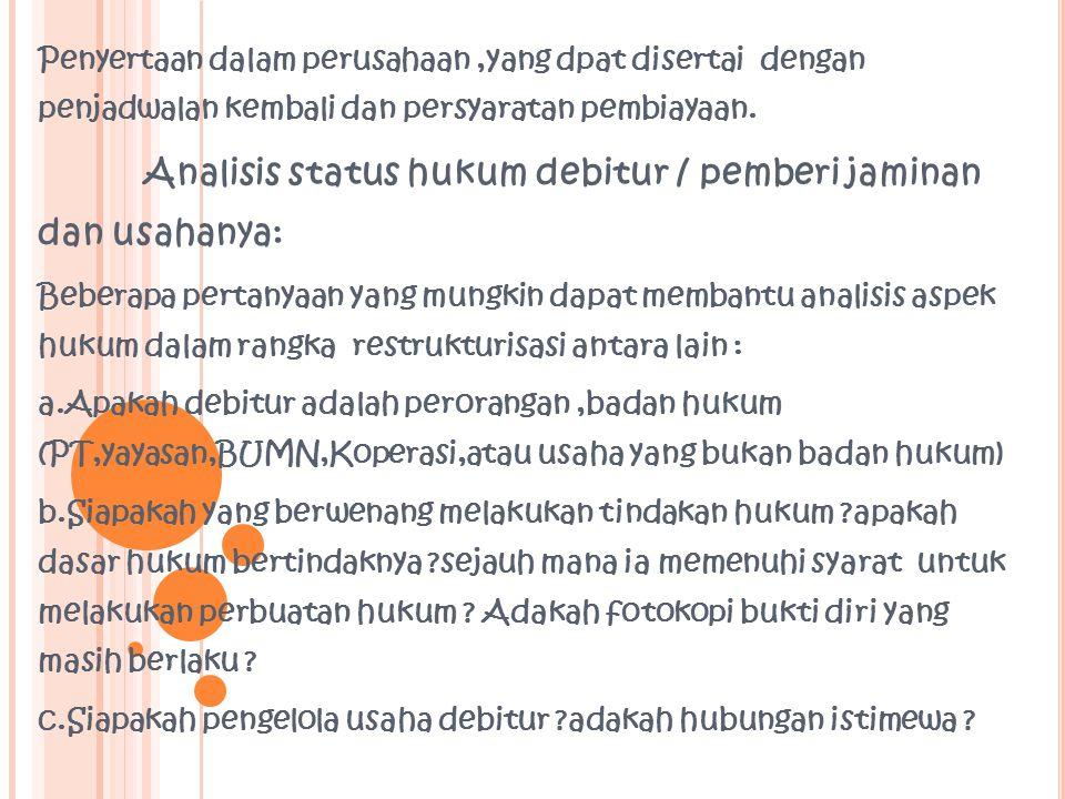Analisis status hukum debitur / pemberi jaminan dan usahanya: