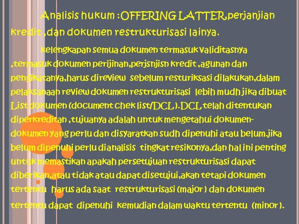 Analisis hukum :OFFERING LATTER,perjanjian kredit ,dan dokumen restrukturisasi lainya.