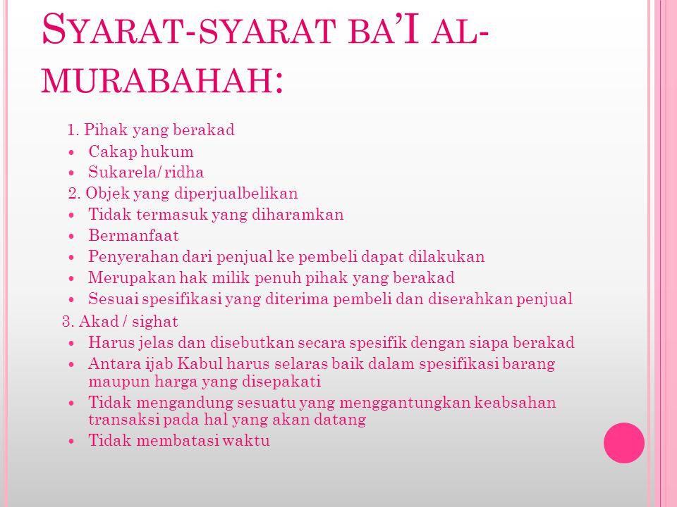 Syarat-syarat ba'I al-murabahah: