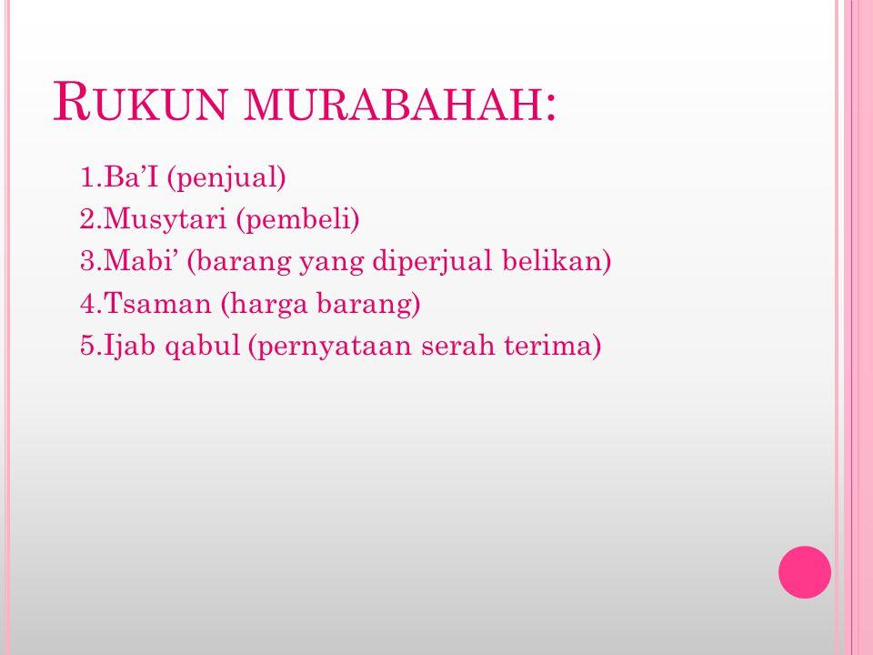 Rukun murabahah: