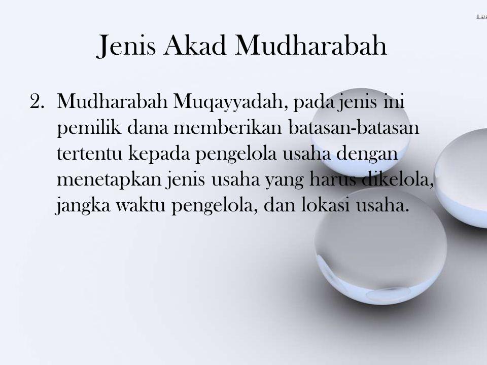 Jenis Akad Mudharabah