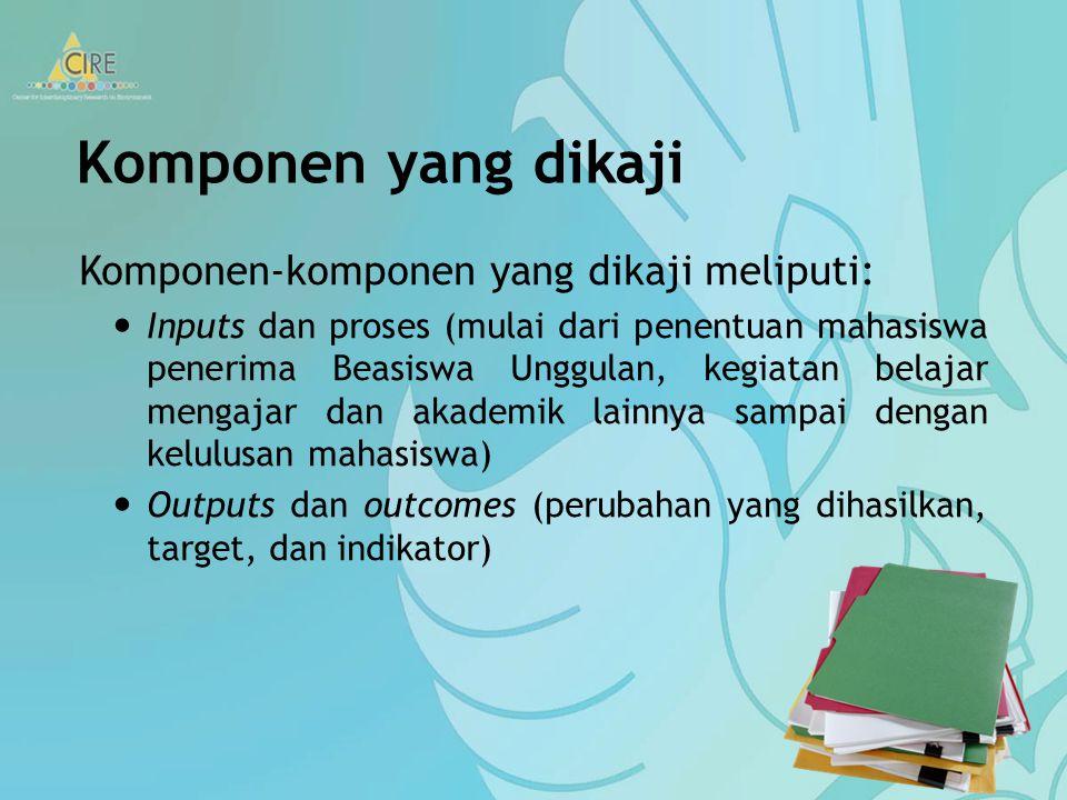 Komponen yang dikaji Komponen-komponen yang dikaji meliputi: