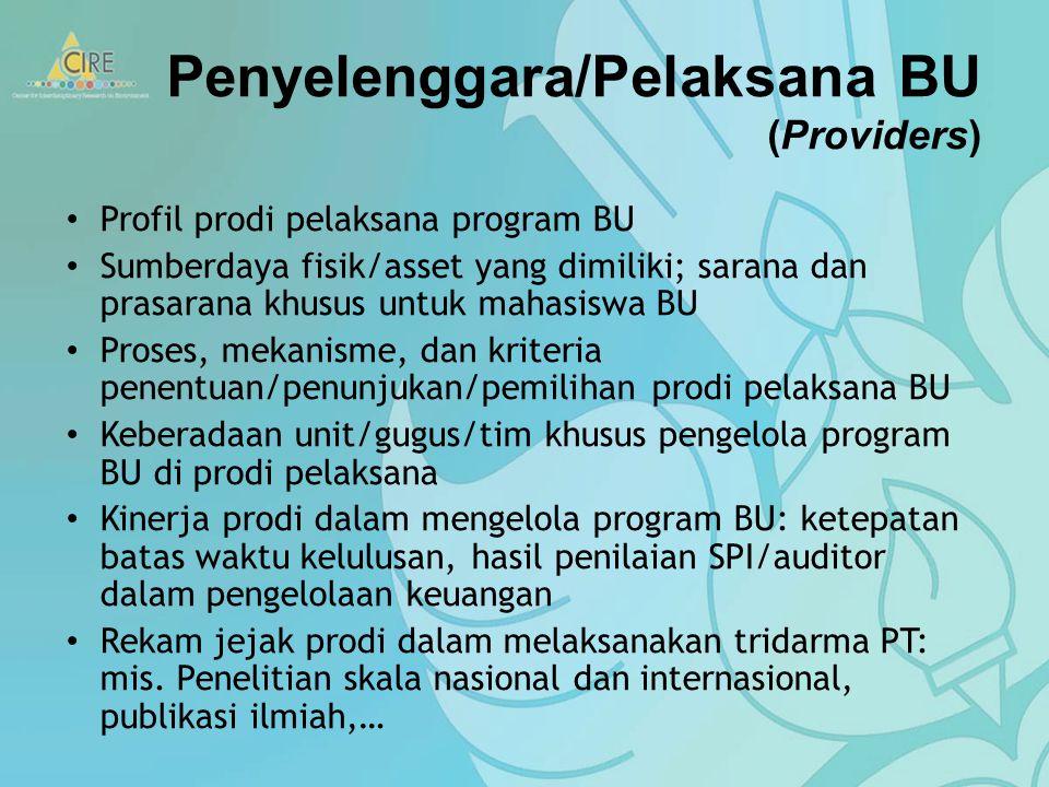 Penyelenggara/Pelaksana BU (Providers)