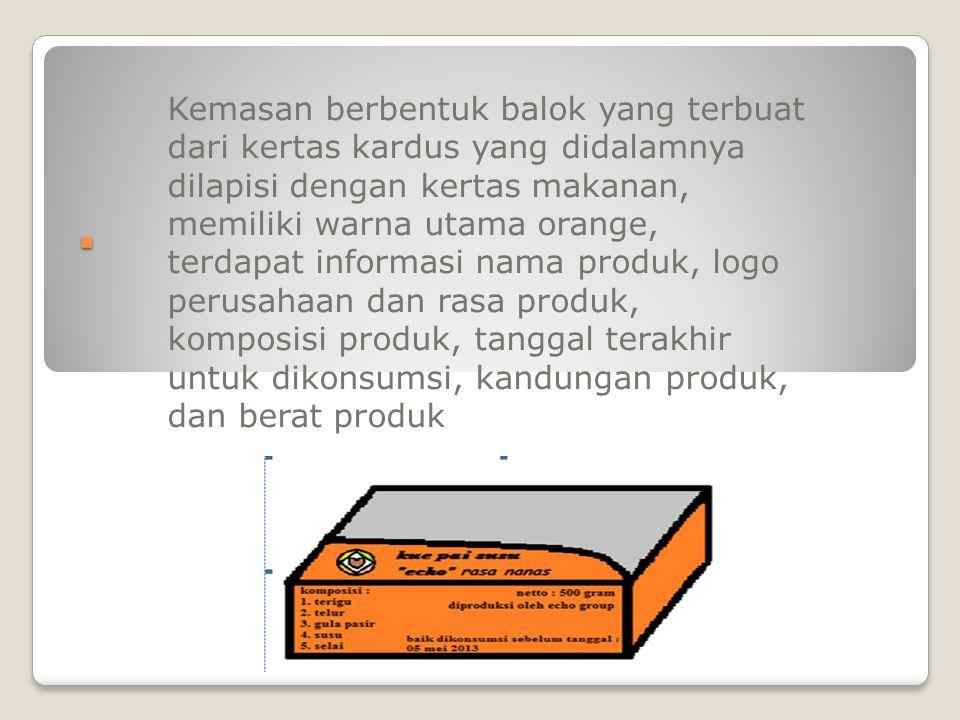 Kemasan berbentuk balok yang terbuat dari kertas kardus yang didalamnya dilapisi dengan kertas makanan, memiliki warna utama orange, terdapat informasi nama produk, logo perusahaan dan rasa produk, komposisi produk, tanggal terakhir untuk dikonsumsi, kandungan produk, dan berat produk