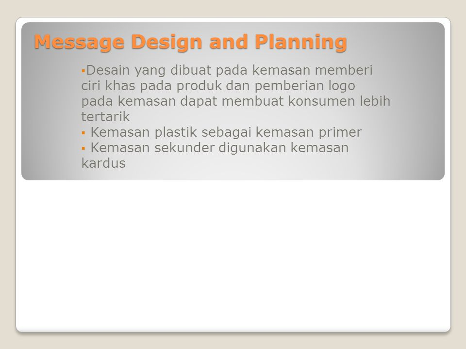 Message Design and Planning