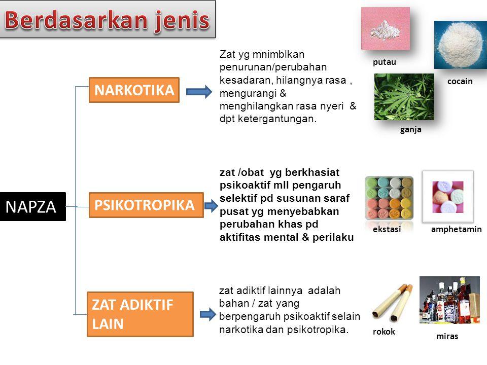 Berdasarkan jenis NAPZA NARKOTIKA PSIKOTROPIKA ZAT ADIKTIF LAIN